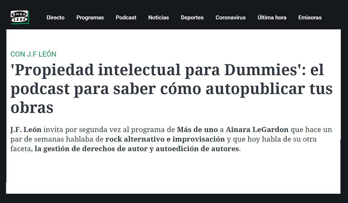 Onda Cero, Autoría, propiedad intelectual para dummies